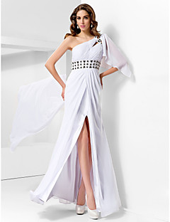 Formal Evening/Prom/Military Ball Dress - White Plus Sizes Sheath/Column One Shoulder Floor-length Chiffon