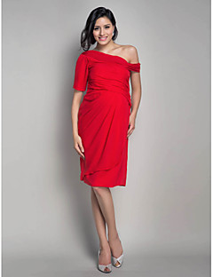 Cocktail Party Dress - Ruby Maternity Sheath/Column One Shoulder Knee-length Chiffon