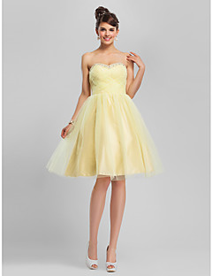 Homecoming Cocktail Party/Homecoming/Sweet 16 Dress - Daffodil Plus Sizes Ball Gown/A-line Sweetheart/Strapless Knee-length Tulle