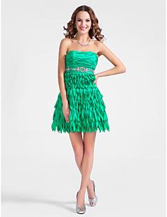 에이 라인 끈이없는 짧은 / 소형 스트레치 새틴 칵테일 드레스