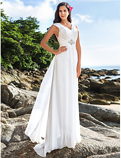 Lanting Bride® 시스 / 칼럼 퍼티트 / 플러스 사이즈 웨딩 드레스 - 클래식&타임레스 / 엘레강스&럭셔리 빈티지 스타일 / 오픈백 바닥 길이 V-넥 쉬폰 와