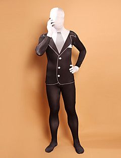 Handsome Black and White Split Lycra Full Body Zentai