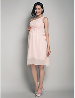 Knee-length Chiffon Bridesmaid Dress A-line / Princess One Shoulder Maternity with Draping / Side Draping