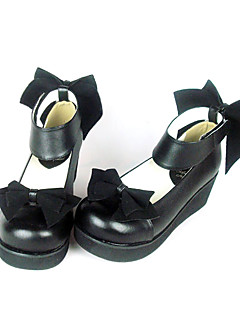 Black PU Leather 4.5cm Wedge Velvet Bow Classic Lolita Shoes