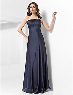 저녁 정장파티/밀리터리 볼 드레스 - 다크 네이비 시스/컬럼 바닥 길이 원 숄더 사틴 쉬프톤 플러스 사이즈