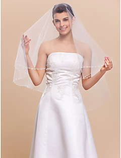 One-tier Fingertip Wedding Veil With Pearl Trim Edge