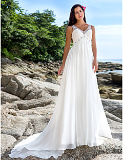 Lanting A-line Petite / Plus Sizes Wedding Dress - Ivory Chapel Train V-neck Chiffon