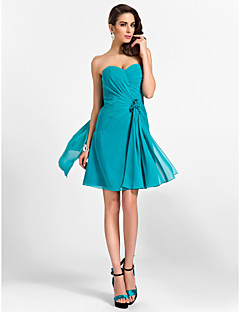 Knee-length Chiffon Bridesmaid Dress - Jade Plus Sizes / Petite A-line / Princess Sweetheart / Strapless