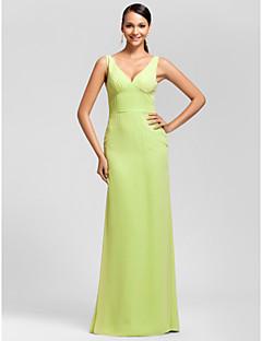 Vestido de Dama de Honor - Salvia Corte Recto Escote en V - Hasta el Suelo Gasa Tallas grandes