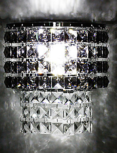 3W Modern Led Wall Light with Fabric Shade Metal Plate Crystal Decor Style