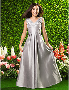 Lanting Bride® Floor-length Taffeta Junior Bridesmaid Dress A-line / Princess V-neck Empire with Draping / Criss Cross