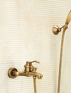 アンティーク調 バスタブとシャワー ハンドシャワーは含まれている with  真鍮バルブ シングルハンドル二つの穴 for  アンティーク真鍮 , シャワー水栓