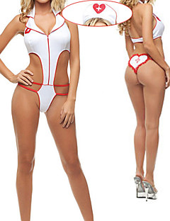 Hot Girl Blanc Polyester Léotard Nurse Costume (2 Pieces)