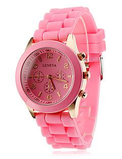 Dames Modieus horloge Vrijetijdshorloge Kwarts Silicone Band Snoep Zwart Wit Blauw Rood Bruin Roze Paars Geel KakiBruin Rood Roze