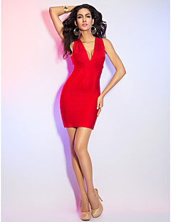 Cocktail Party / Holiday Dress - Ruby Petite Sheath/Column V-neck Short/Mini Rayon