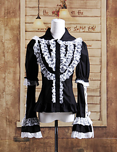Long Sleeve Black Cotton White Lace Aristocrat Gothic Lolita Blouse
