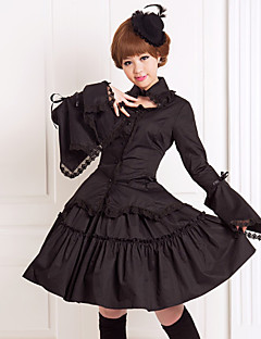 Black Flare Collared Sleeve Long Blouse Knee-length Skirt Antique Gothic Lolita Outfit