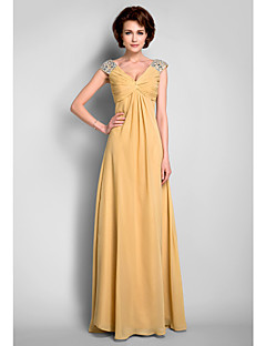 LAN TING BRIDE A-line Plus Size Petite Mother of the Bride Dress - Sexy Floor-length Sleeveless Chiffon with Beading Draping Criss Cross