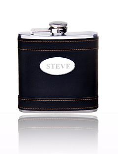 Marié / Groom Cadeaux Piece / Set Flasque Classique Mariage / Célébration / Anniversaire Inox Personnalisé Flasque Noir Boîte à cadeau