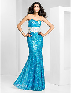 Prom/Formal Evening/Military Ball Dress - Pool Plus Sizes Trumpet/Mermaid Strapless Floor-length Sequined