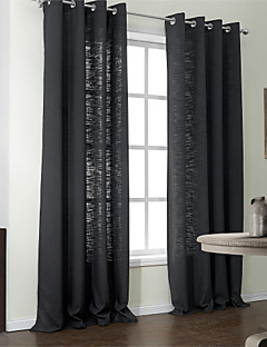(Two Panels) Modern Solid Polyester Cotton Blend Eco-friendly Curtain
