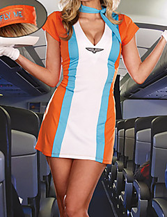 Sweet and Sexy orange Polyester Kleid Stewardess Kostüm (4 Stück)