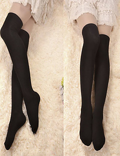 Black Cotton Classic Lolita Over Knee Socks