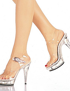 PVC Upper 1.5cm Platform 12.5cm High Heel Stiletto Heel Women's Slippers/Sandals