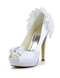 Feminino Wedding Shoes Saltos Saltos Casamento Marfim/Branco