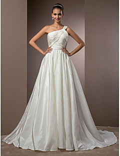 Lan Ting A-line/Princess Plus Sizes Wedding Dress - Ivory Court Train One Shoulder Taffeta
