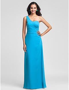 שמלה צמודה / עמודה אחת כתף באורך רצפת שיפון שושבין (493,611)