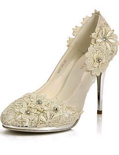 elegante de cetim stiletto bombas de calcanhar / dedo do pé fechado com flor de casamento / festa sapatos