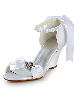 Graceful Satin Wedge Heel Sandals with Bowknot and Imitation Pearl Wedding Shoes(More Colors)
