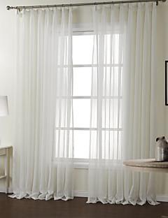 2パネル ウィンドウトリートメント 現代風 , 縞柄 ベッドルーム ポリエステル 材料 シアーカーテンシェード ホームデコレーション For 窓