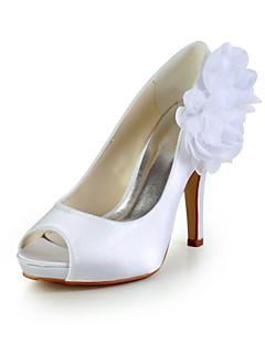 Satin élégant talon aiguille peep Toe pompes avec des chaussures de mariage de fleur (plus de couleurs)