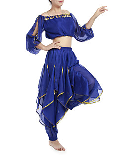 Belly Dance Outfits Women's Chiffon Beading / Coins / Sequins Black / Blue / Fuchsia / Pink / Purple / Red / Royal Blue / White / Yellow