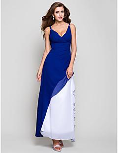 저녁 정장파티/밀리터리 볼 드레스 - 로얄 블루 A라인/프린세스 티 길이 V넥 쉬폰 플러스 사이즈