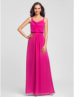 Lanting Bride® Floor-length Chiffon Bridesmaid Dress - Sheath / Column Straps Plus Size / Petite with Draping