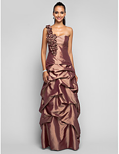 Prom/Formal Evening/Military Ball Dress - Brown Plus Sizes Sheath/Column One Shoulder Floor-length Taffeta