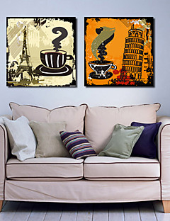 Stretched Canvas Art Landscape Euro City Architecture and Coffee Set of 2