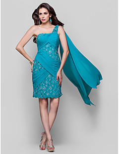 Homecoming Cocktail Party Dress - Jade Plus Sizes Sheath/Column One Shoulder Knee-length Chiffon/Lace