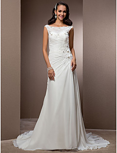 Lanting Bride Sheath/Column Petite / Plus Sizes Wedding Dress-Court Train Bateau Chiffon