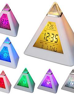 7 LED színek változó piramis alakú digitális ébresztőóra naptár hőmérő (fehér, 3xAAA)