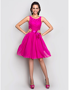Homecoming Cocktail Party/Holiday/Homecoming Dress - Fuchsia Plus Sizes A-line Scoop Knee-length Stretch Satin