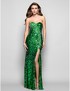 Formal Evening/Military Ball Dress - Dark Green Plus Sizes Sheath/Column Strapless/Sweetheart Floor-length Sequined