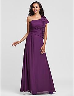 Floor-length Chiffon Bridesmaid Dress - Grape Plus Sizes Sheath/Column One Shoulder