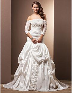 웨딩 드레스 - 아이보리(색상은 모니터에 따라 다를 수 있음) 핏 & 플레어 채플 트레인 오프 더 숄더 태피터 플러스 사이즈