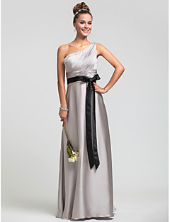 Formal Evening / Military Ball / Wedding Party Dress Sheath / Column One Shoulder Floor-length Satin Chiffon withBeading / Side Draping /
