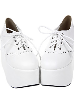 Handmade Lace Up Pure White PU Leather 10cm Wedge Classic Lolita Shoes