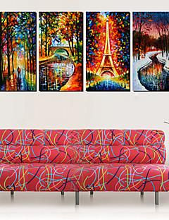 Op gespannen doek Landschap Regen en Liefde Set van 4